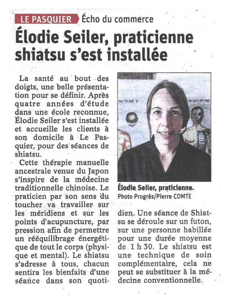 Article Le Progrès - Elodie Seiler
